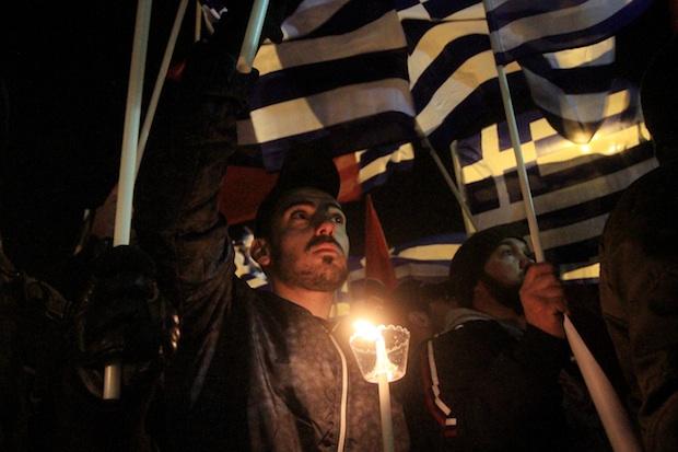 Επετείος  κρίση  Ιμίων Συγκέντρωση Χρυσή Αυγή    οπαδός σημαία