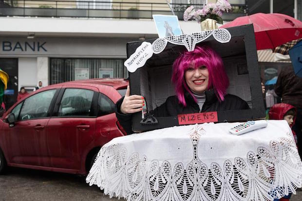 Traditional carnival `Boules and Genitsari` in Naousa on February 22, 2015. The Boules of Naousa is taking place during the Carnival period. It is a dance event that incorporates a variety of elements from Greek history, tradition and religion./ Παραδοσιακό καρναβάλι με Μπούλες και Γενίτσαρους στη Νάουσα στις 22 Φεβρουαρίου 2015.